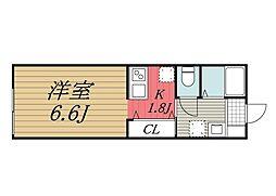 千葉県千葉市花見川区南花園1の賃貸アパートの間取り