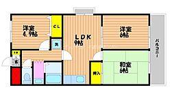 岡山県岡山市北区辰巳の賃貸マンションの間取り