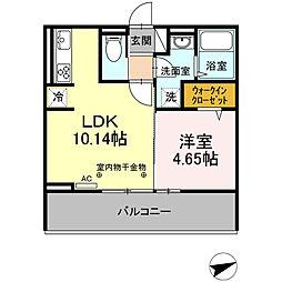JR鹿児島本線 久留米駅 徒歩18分の賃貸アパート 3階1LDKの間取り