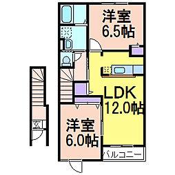栃木県鹿沼市日吉町の賃貸アパートの間取り
