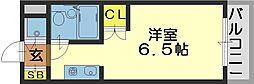 ロイヤルアーク八戸ノ里[509号室]の間取り