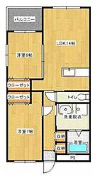 エフツー新湯野[2階]の間取り