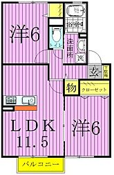 千葉県野田市山崎の賃貸アパートの間取り