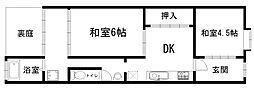 京都府京都市下京区西七条掛越町の賃貸アパートの間取り