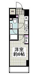 京急本線 日ノ出町駅 徒歩2分の賃貸マンション 2階1Kの間取り