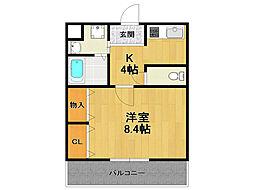 兵庫県伊丹市東野8丁目の賃貸アパートの間取り