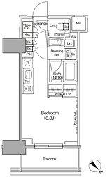 東京メトロ有楽町線 月島駅 徒歩1分の賃貸マンション 8階ワンルームの間取り