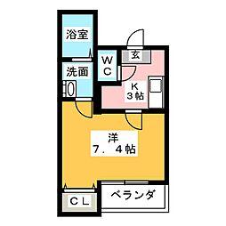 クレフラスト喜多山駅前A棟[2階]の間取り