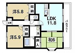 京都府木津川市梅美台1丁目の賃貸マンションの間取り