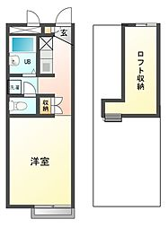 兵庫県姫路市飯田1丁目の賃貸アパートの間取り