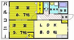 フォレストステージ B[2階]の間取り