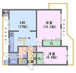南円明寺ケ丘団地9棟306[3階]の間取り