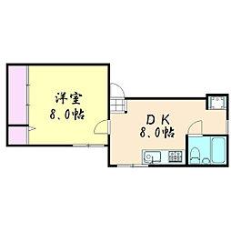 金田ハイツ[1階]の間取り