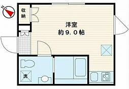 東急池上線 石川台駅 徒歩1分の賃貸マンション 4階ワンルームの間取り