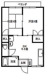 大倉山ハイツエリーナA棟[202号号室]の間取り