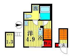 リオグランデ亀戸 2階ワンルームの間取り