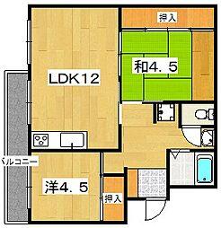 男山第二住宅102棟[4階]の間取り