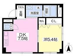 東京都新宿区戸山1丁目の賃貸マンションの間取り