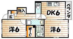 福岡県北九州市若松区小敷ひびきの2丁目の賃貸アパートの間取り