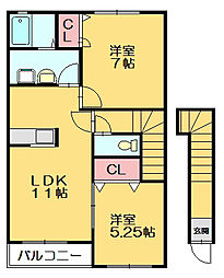 福岡県福岡市東区多の津5丁目の賃貸アパートの間取り