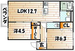 クラヴィエ赤坂A棟[1階]の間取り