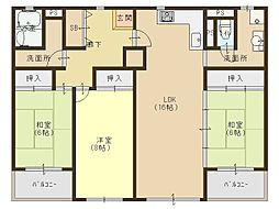 JR大阪環状線 森ノ宮駅 徒歩10分の賃貸マンション 14階3LDKの間取り