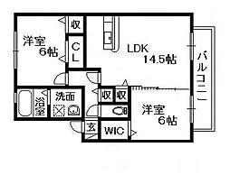 パシオーネ B棟[1階]の間取り
