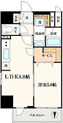 エステムコート北堀江 3階1LDKの間取り