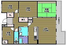 ノバティながの南館フロンテージ長野 8階4LDKの間取り