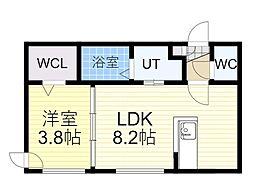 札幌市営南北線 麻生駅 徒歩1分の賃貸マンション 3階1LDKの間取り