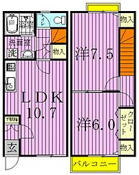 グラシィ松戸[102号室]の間取り
