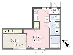 都営浅草線 戸越駅 徒歩10分の賃貸アパート 1階1LDKの間取り