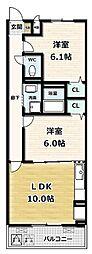 ソレイユ 3階2LDKの間取り