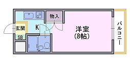 ラ・フィーヌ永田[301号室]の間取り