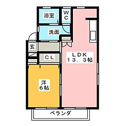 プリントスII[1階]の間取り