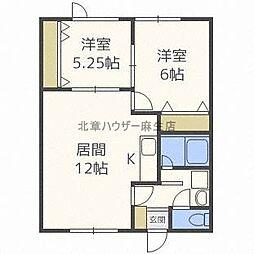 ハイム新川3・4 2階2LDKの間取り