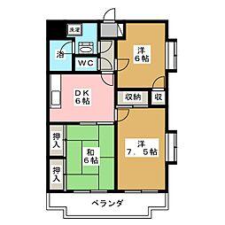 ガーデンコート壱番館[2階]の間取り