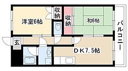 愛知県名古屋市熱田区花町2丁目の賃貸マンションの間取り