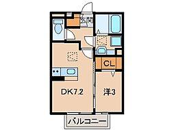 ラ・フルール西高松[1階]の間取り