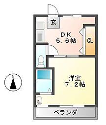 ヴィラナリー富田林2号棟[3階]の間取り