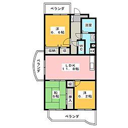 パークサイドHIRATA[1階]の間取り