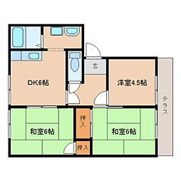 近鉄天理線 天理駅 バス6分 勾田下車 徒歩3分の賃貸アパート 1階3DKの間取り