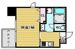 ファーストステージ心斎橋イースト 6階1Kの間取り
