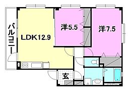 フォブールSATSUKI B棟[101 号室号室]の間取り