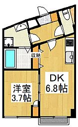 アートフル野口 3階1DKの間取り