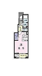 伊予鉄道横河原線 見奈良駅 徒歩7分の賃貸アパート 1階1Kの間取り