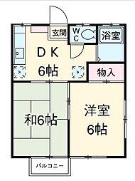 やよい荘B[1階]の間取り