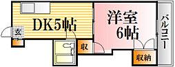 レジデンス西蟹屋[705号室]の間取り