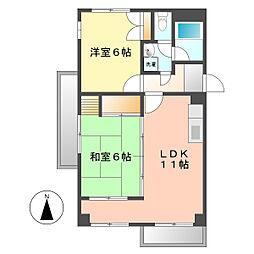 愛知県名古屋市西区中小田井2の賃貸マンションの間取り