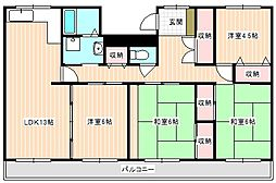 山口県下関市綾羅木本町3丁目の賃貸マンションの間取り